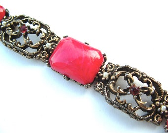 Selro Florenza Style Ornate Faux Red Marble Glass Gemstone Chunky Bracelet Vintage Jewelry