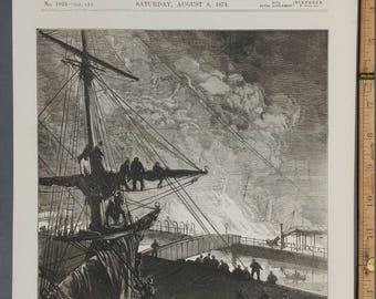 Burning of the Landing Stage at Liverpool    Large Antique Print