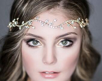 Bridal Halo Headband, Wedding Hair Accessories, Vintage Style Leaf Hair Vine, Swarovski Crystal Headpiece, Art Deco Jewelry (COLLETTE)