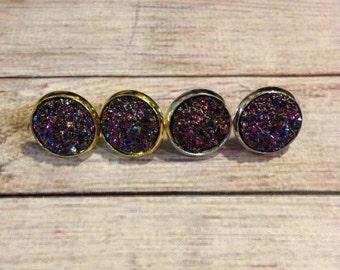 Druzy Studs in Orchid, Sparkling Purple Druzy Earrings, Orchid Druzy Earrings, Purple Amethyst Stud Earrings, Druzy Stud Earrings in Orchid