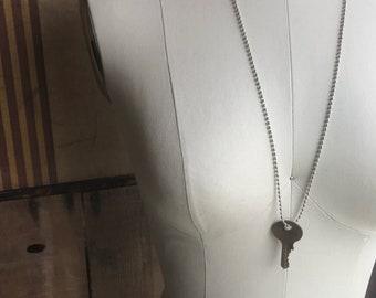 Custom handstamped key necklace