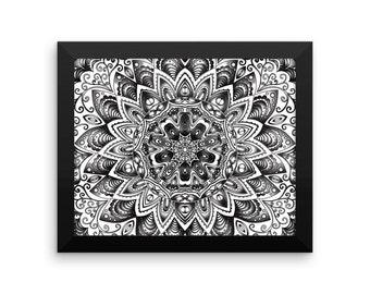 Framed Black And White Mandala Art Print Yoga Meditation Mandala Design