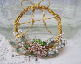 Charming Floral Wreath Brooch, Springtime Pin