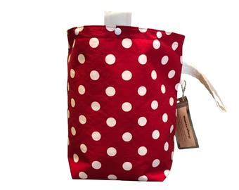 Rosy Red Polka Dots Project Bag Bucket Bag Extra Tall