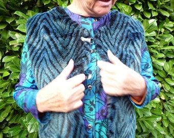 Long blue and black faux fur vest