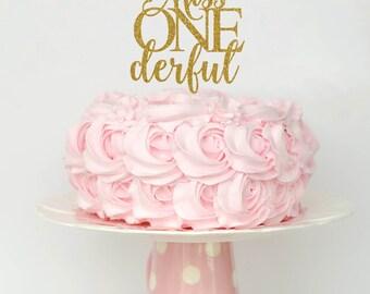 Miss Onederful Cake Topper, Cake Decoration, Glitter, Party Decoration, Custom, Gold, Silver, Birthday, First Birthday, Bday, 1st Birthday