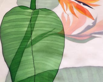 Hand painted silk scarf banana leaves and flowers, 100% chiffon silk scarf, designed by Nhi art
