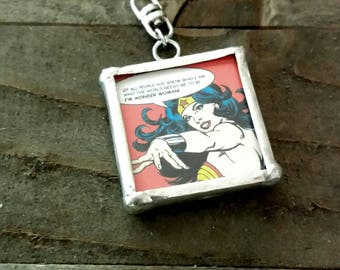 Wonder Woman Pendant Framed Pendant Comics Pendant Framed Glass Charm Super Hero Charm DC Comics Charm