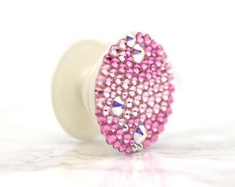 Bling Popsocket with Custom Color of Your Choice with Swarovski Crystals. Bling Stand & Grip