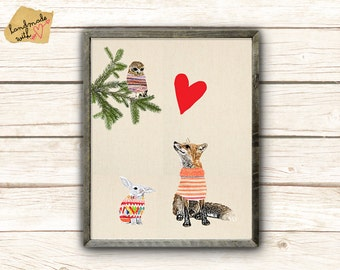 Cute Fox and owl in love
