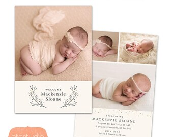 Birth Announcement Template - Baby announcement card - Photoshop PSD 5x7 card for photographers - CB099 - INSTANT DOWNLOAD
