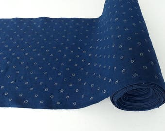 Blue dyed, hand printed, linen fabric / table runner 42 cm wide, K91