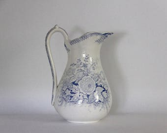 Antique French Transferware Jug, Jardiniere Floral Jug, Pitcher, Vase 1800's LARGE