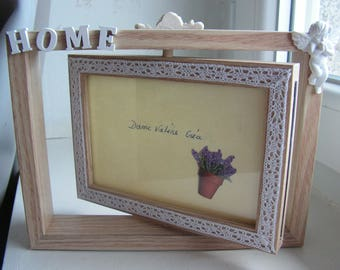 """Photos 2-sided swivel """"home"""" Angel and lace frame"""