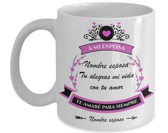 Regalo Personalizado Tazas de Amor con Mensajes para Esposa - Mama - Aniversario