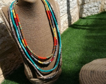 Bohemian fashion necklace, Unique rope jewelry, Colorful layered rope necklace,Multi Layer fabric necklace ,Colorful textile rope necklace