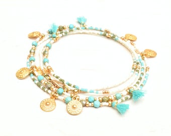 Seed beads necklace, Wrap bracelet, Tassel jewelry, Boho necklace, Tassel necklace, Boho jewelry, Turquoise necklace, Long beaded necklace