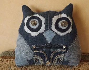 Upcycled Denim /OWL PILLOW/ Decorative/ ipod Pocket/ tooth pocket