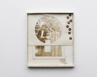 Original Vintage Photo Collage Art in Neutral Tones