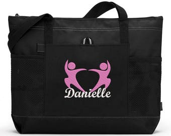 Dancers 3 Personalized  Zippered Tote Bag with Mesh Pockets, Beach Bag, Boating, Exclusive Design