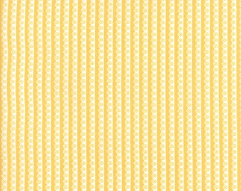 Pepper and Flax - Lacy Stripe in Tansy: sku 29046-16 cotton quilting fabric by Corey Yoder for Moda Fabrics