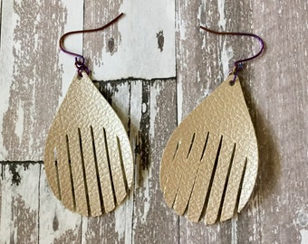 Earrings Leather Feather Taupe Textured Teardrop Shaped Faux Leather, Pleather, Dangle, Pierced, Lightweight