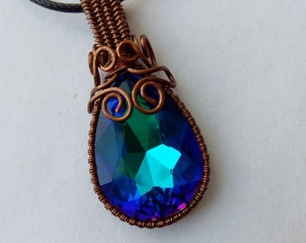 Pendant crystal in a copper frame! 3