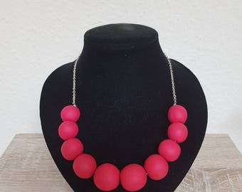 Cherry Necklace Matt Fimo, cherry red, cherry red matte fimo chainlet Free Shipping