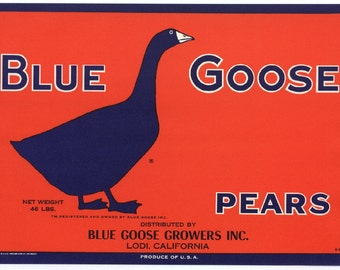 Vintage Original BLUE GOOSE Pears Crate Label, Fruit Crate Label