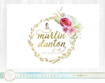 Floral Logo, Photography Logo,Artisan Logo, Boutique Logo ,Events Logo, Decor Logo, Gold Foil Logo, Wedding Logo, Logo,Watermark