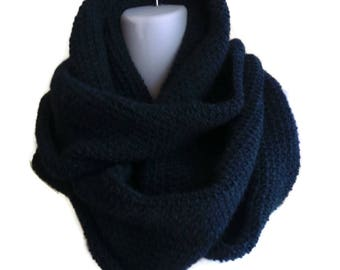 Baby Alpaca Infinity Scarf Navy Blue SAMANTHA Ready to Ship Gift for Her Gift for Him