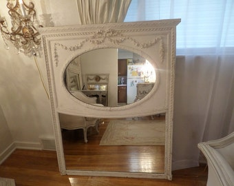 Stunning Antique Large  French Trumeau Mirror Ornate Bow Gesso Roses Swags Details Shabby Chic