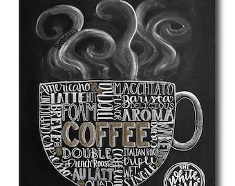 Coffee Art, Coffee Kitchen Art, Chalkboard Sign, Chalk Art, Kitchen Chalkboard, Coffee Lover, Subway Art, Kitchen Print, Kitchen Decor