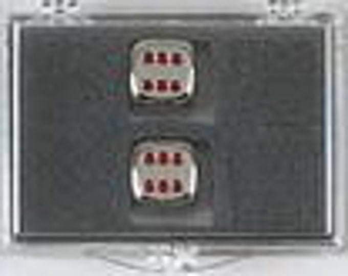 Metal Dice: Pair of Red Pipped 16mm d6 (2)