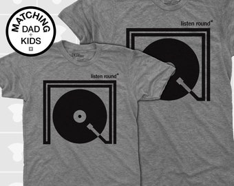 Dad Gift, Turntable, Daddy and Me, Father Son Matching, Matching Dad Son Shirts, Matching Daddy Daughter, Dad Baby Onesies, Music Shirt