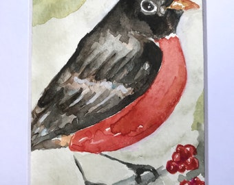 Watercolor small original painting free shipping songbird bird