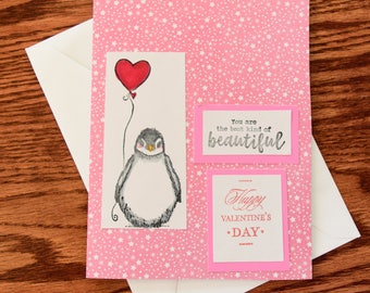 Handmade Valentine Card - Penguin With a Heart-Shaped Balloon