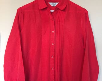 Vintage Red Pleated Blouse - Susan Vanheusen - Size 14 - Women's Large