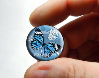 Glass Cabochon - Blue Monarch Butterfly - for Jewelry and Pendant Making