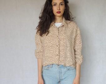 Vintage Silky Oversized Slouchy Leopard Pattern Button Up Shirt