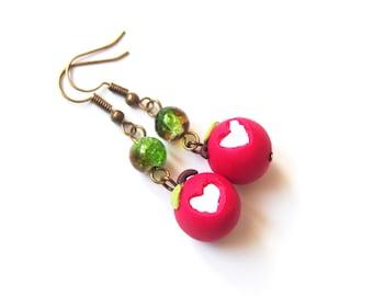 Apple Earrings Valentine Earrings ( bitten apple food earrings miniature food polymer clay jewelry miniature apple food jewellery )