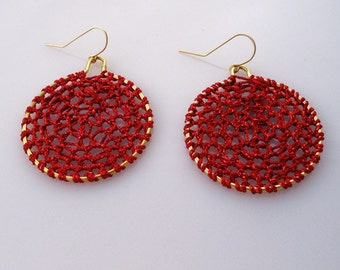 Handmade Sterling Silver Earrings Red  Knitted Lurex String Dangles Made in Israel