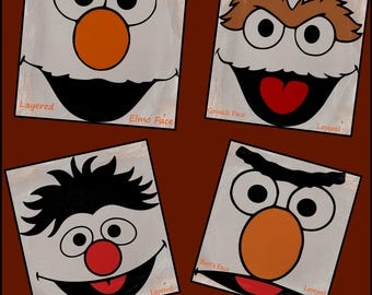 Sesame Street SVG Layered Files, Elmo, Grouch, Ernie & Bert Faces made for cricut and other cutting machines