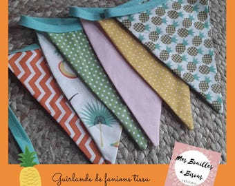 6 Bunting in cotton fabric - Decoration room kid or accessory teepee - green, orange, yellow - fabric peas, pineapple, chevrons