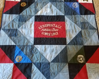 Memory Quilt, Custom Quilts, Jean Quilt, Handmade Quilts, Custom Blankets, Blue Jean Quilt, Denim Blanket, Denim Quilt for Sale