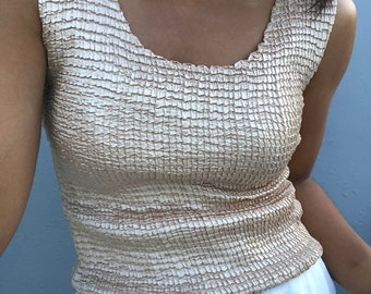 vintage micropleat pale gold tank