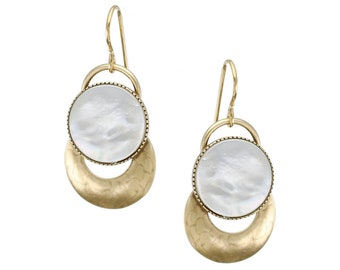 Mother of Pearl Disc with Brass Ring Earring