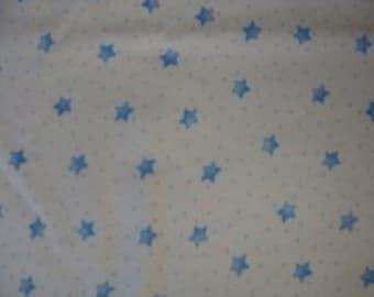 "Blue Stars on White Flannel 36"" x 44"""