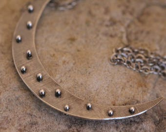 polka dot crescent moon necklace. moon jewelry. sterling silver and fine silver. Boho. 32 inches necklace