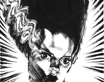 "Inktober Day 19 ""Bride of Frankenstein"" Original Art"